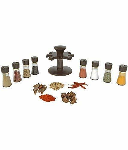 Premium 8 Piece Multipurpose Revolving Plastic Spice Rack Storage Jar Condiment Set (Black)