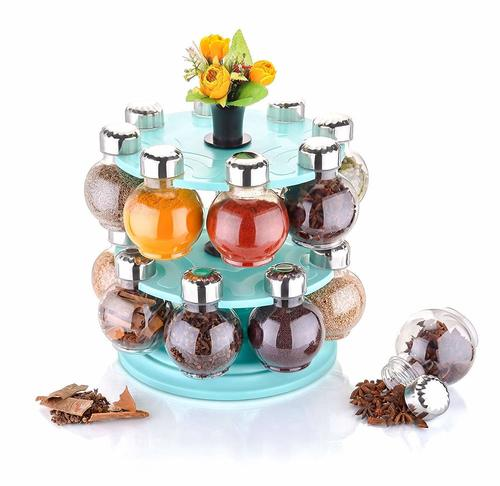 360 Degree Revolving Round Shape Transparent Pack of 16 Jar Spice Rack/Container