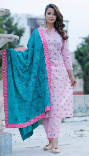 Pink Cotton Pant set with dupatta