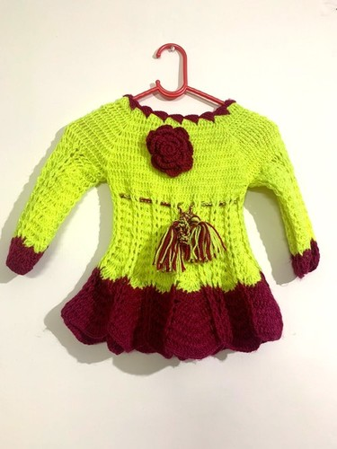 Maroon And Fluorescent Green Hand-knit Sweater