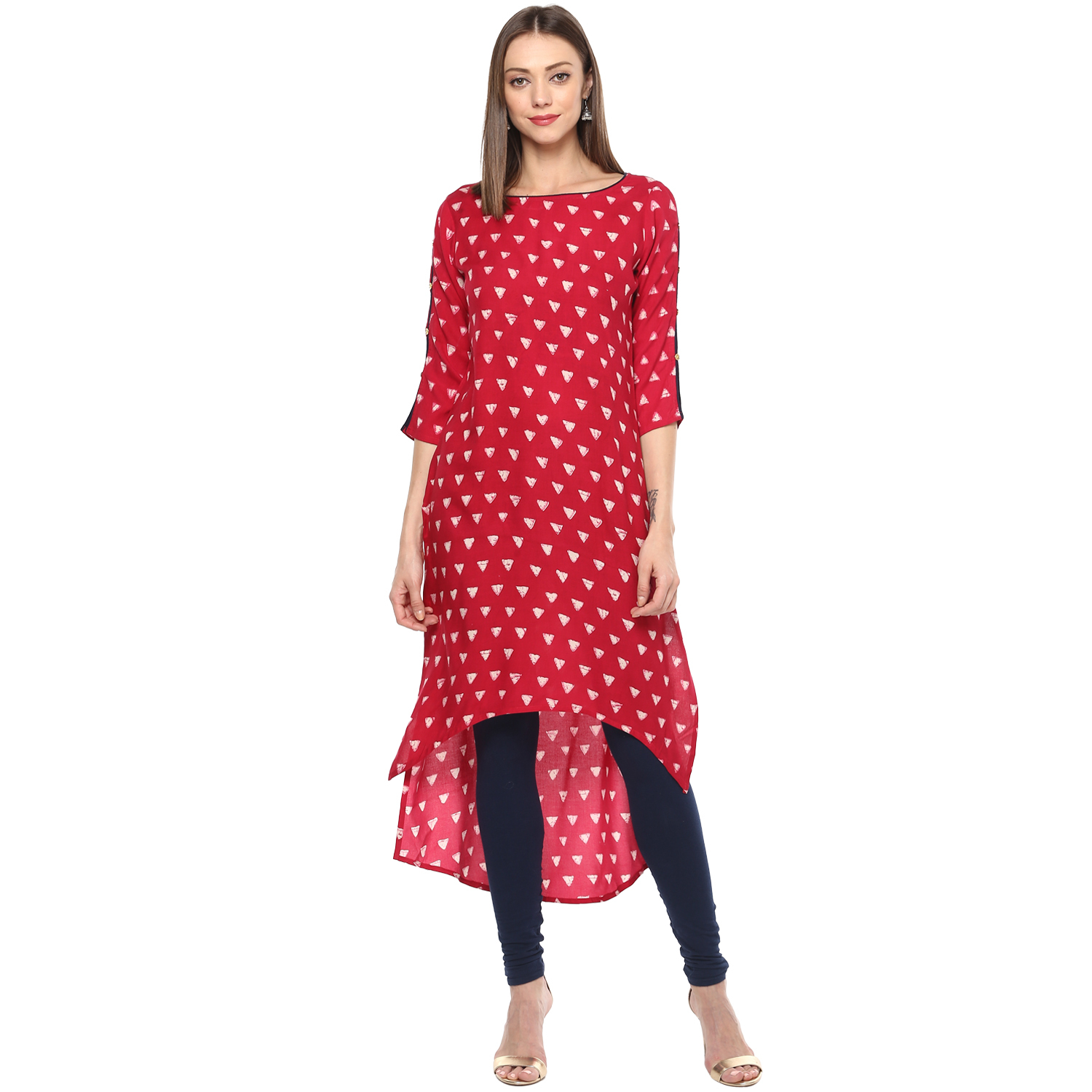 Remtex Women Straight Kurti Red