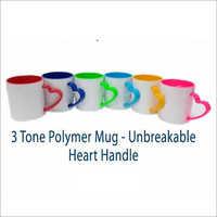 3 Tone Polymer Unbreakable Heart Handle Mug Printing Services