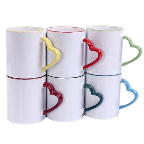 White Ceramic Heart Handle Mug Printing Services
