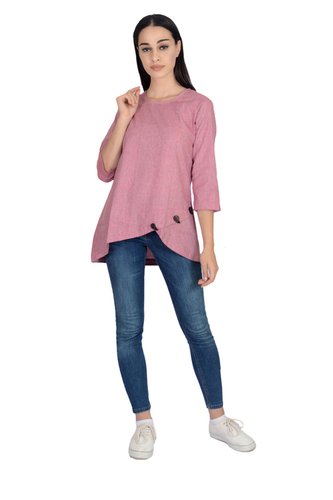 Remtex Women Cotton Top Pink