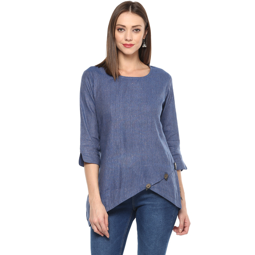 Remtex Women Cotton Top Blue