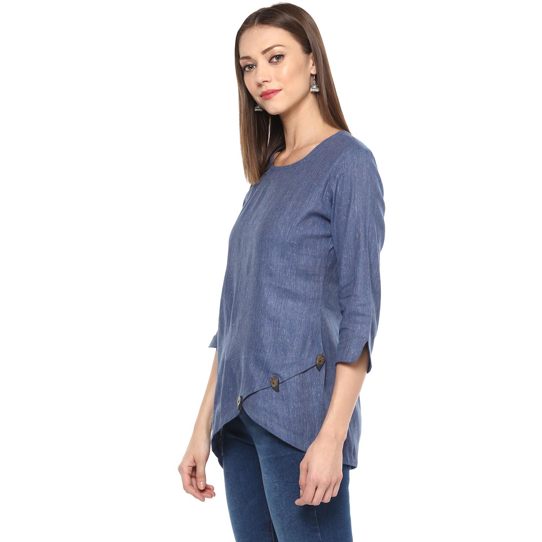 Remtex Women Cotton Top Blue