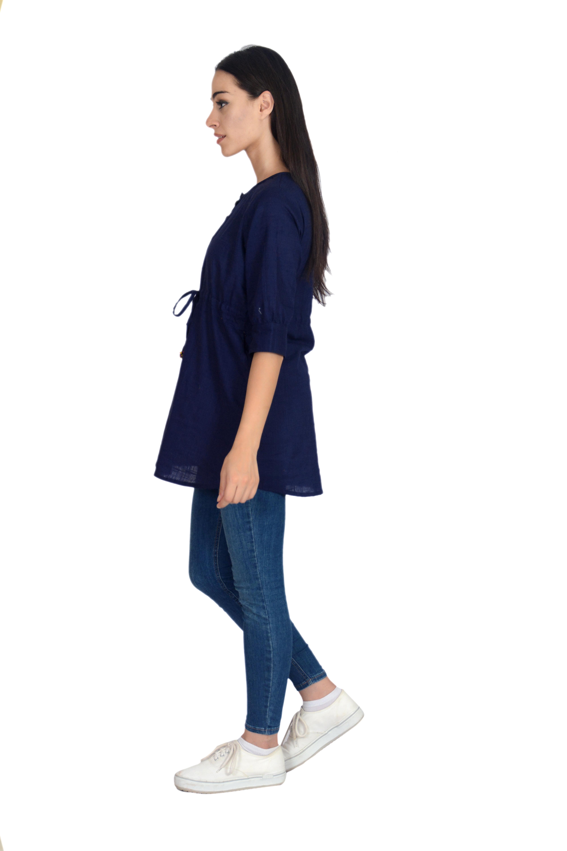 Remtex Women Cotton Blue Casual Top