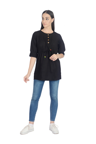 Remtex Women Cotton Black Casual Top