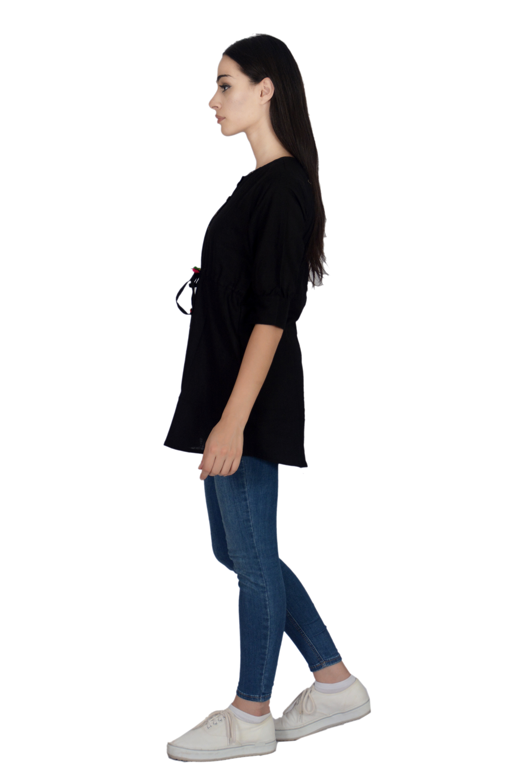 Remtex Women Cotton Black Casual Top
