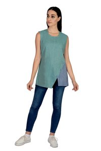 Remtex Women Cotton Casual Turquoise Blue