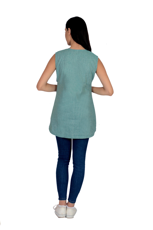 Remtex Women Cotton Casual Turquoise Blue