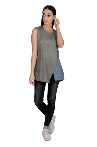 Remtex Women Cotton Black Blue Top