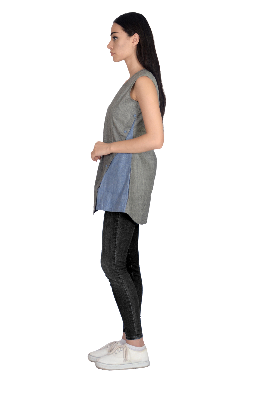 Remtex Women Cotton Black Blue Top