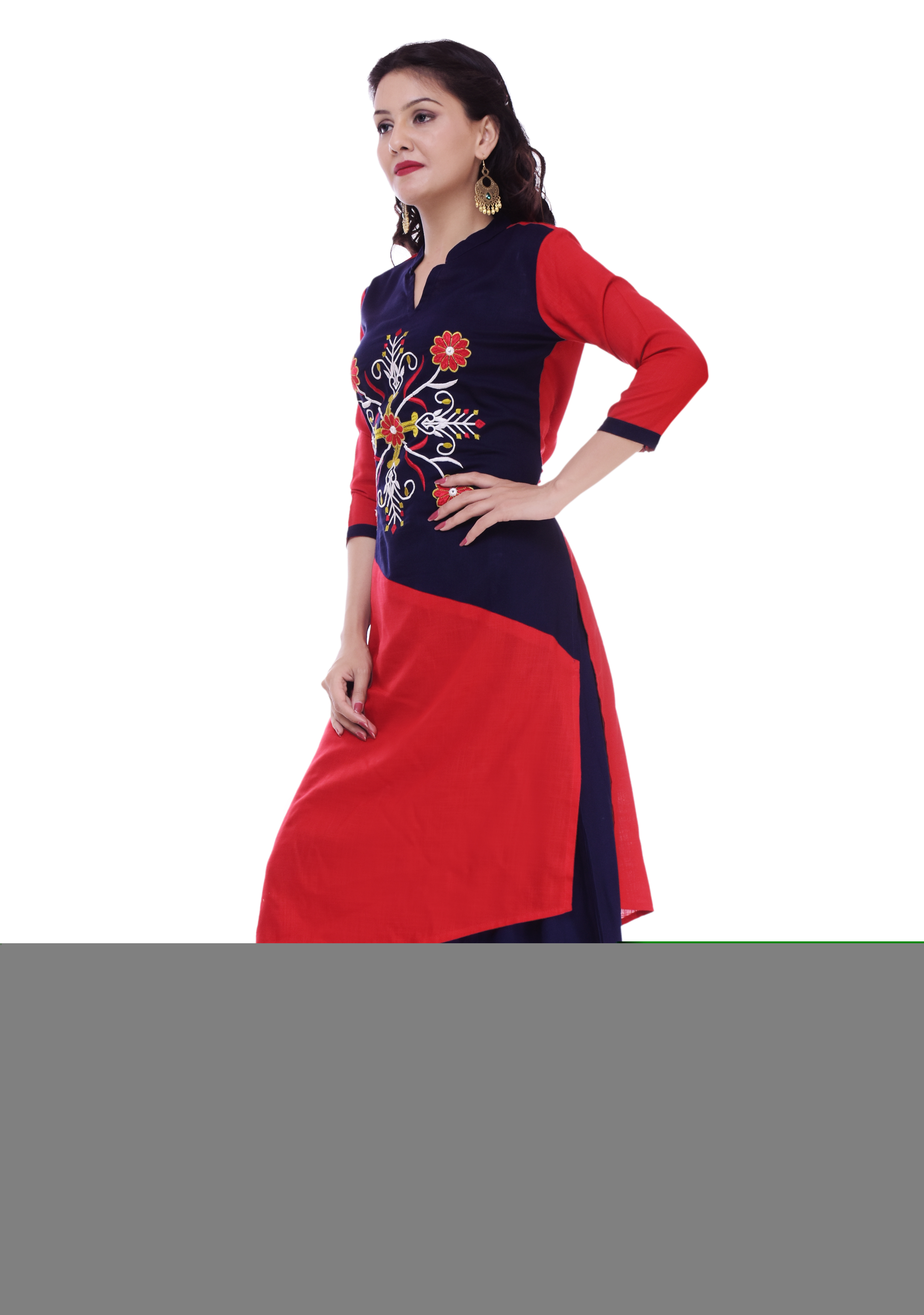 Remtex Kurti Palazzo Blue in Red Straight