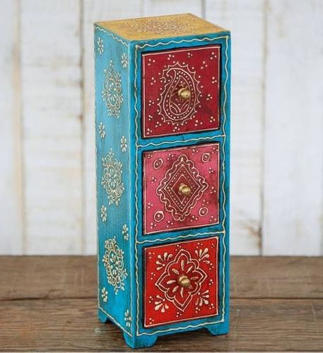Small wooden Jewelry box 3 Vertical  Drawers