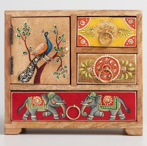 wooden small storage Unit Rajasthani Art with 3 drawers 1 cabinate