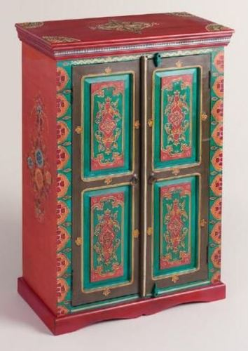 Wooden Storage Cabinet Hand Painted 2 doors