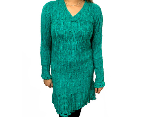 BLUE HAND-KNIT LONG KURTI