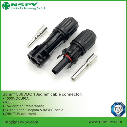 Solar cable connector IP68 suitable for 10sqmm solar cable TUV approved matching MC4 or EVO connector