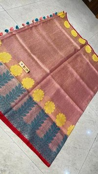 Pure Tissue Linen Jacquard Weaving Saree