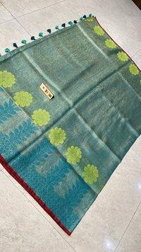 Pure Tissue Linen Jacquard Weaving Saree