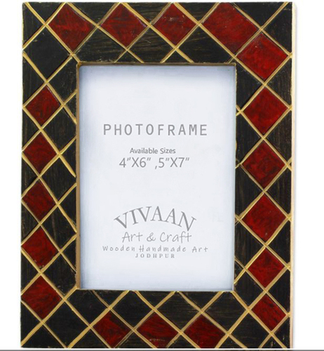 Wooden Photo Frame Handmade Crisscross Design Red And Black With Golden Strips