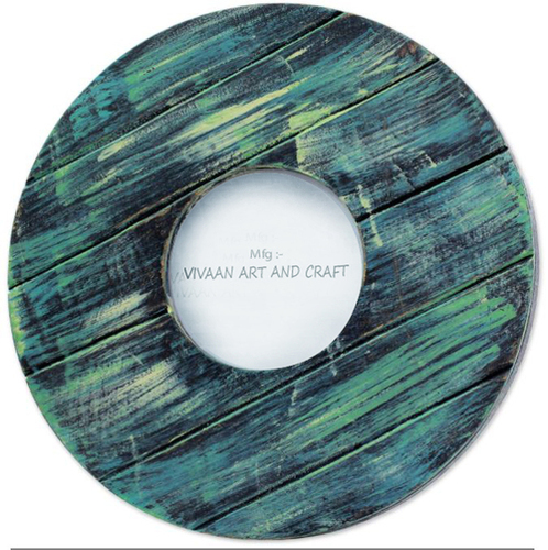 Wooden Photo Frame Round Shape Dark Green Blue Mixed Shade