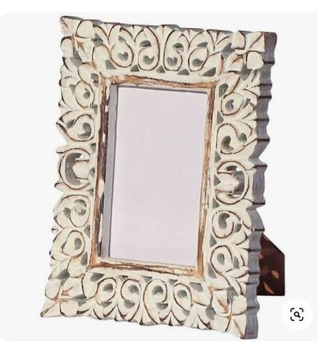 wooden photo frame hand carving in distressed white wash finish