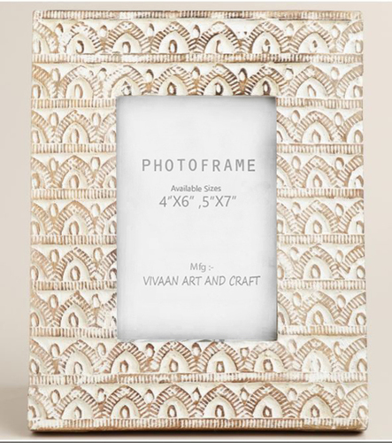 wooden photo frame Hand carving white wash Finish