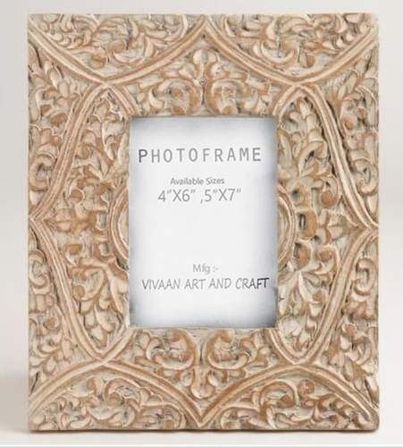 Wooden photo frame Micro carving work Truly Handmade