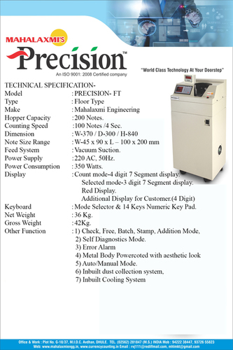 Precision-FT Cash Counting Machine