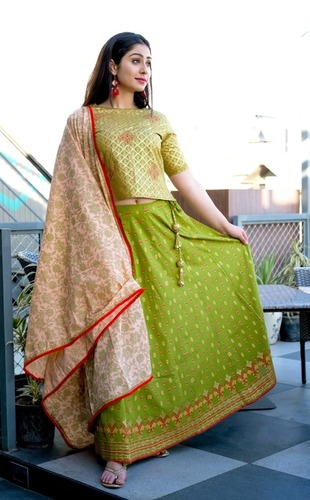 Green Lehenga Choli With Dupatta