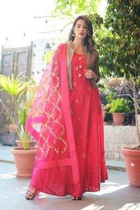 Banarasi Silk Dress With Dupatta And Jacket