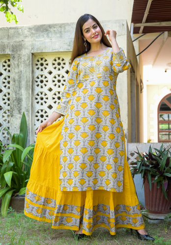 Mustard Embroidered Skirt Set