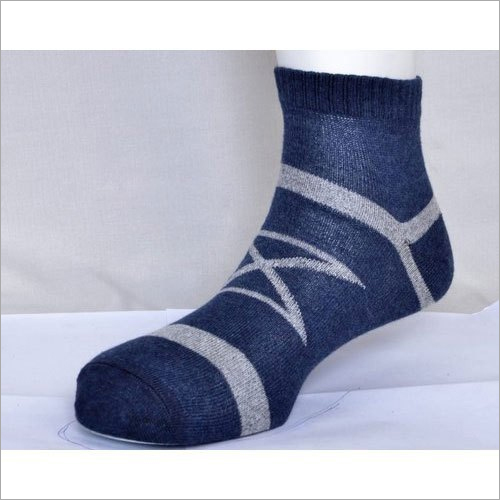 Mens Blue And Grey Cotton Socks