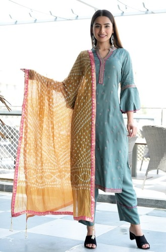 Embroidered Rayon Silk Suit Set