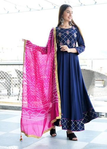 Navy Blue Flared Dress with Dupatta