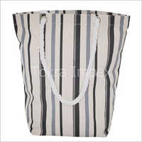 Allover Stripe Print 12 Oz Natural Canvas Tote Bag with Twisted rope Handle