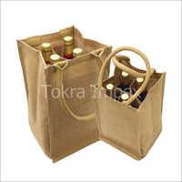 4 Bottle Jute Bag With Inside Bottle Partition