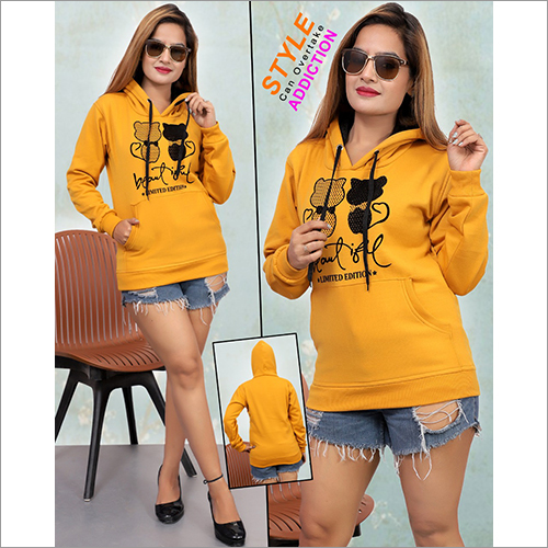 Ladies Yellow Stylish Hoodies Sweatshirt