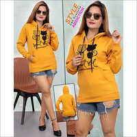 Ladies Yellow Stylish Hoodies Sweatshirt