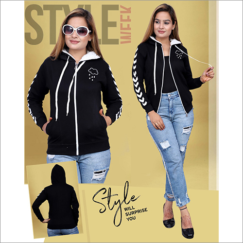 Ladies Zipper Hoodies Sweatshirt