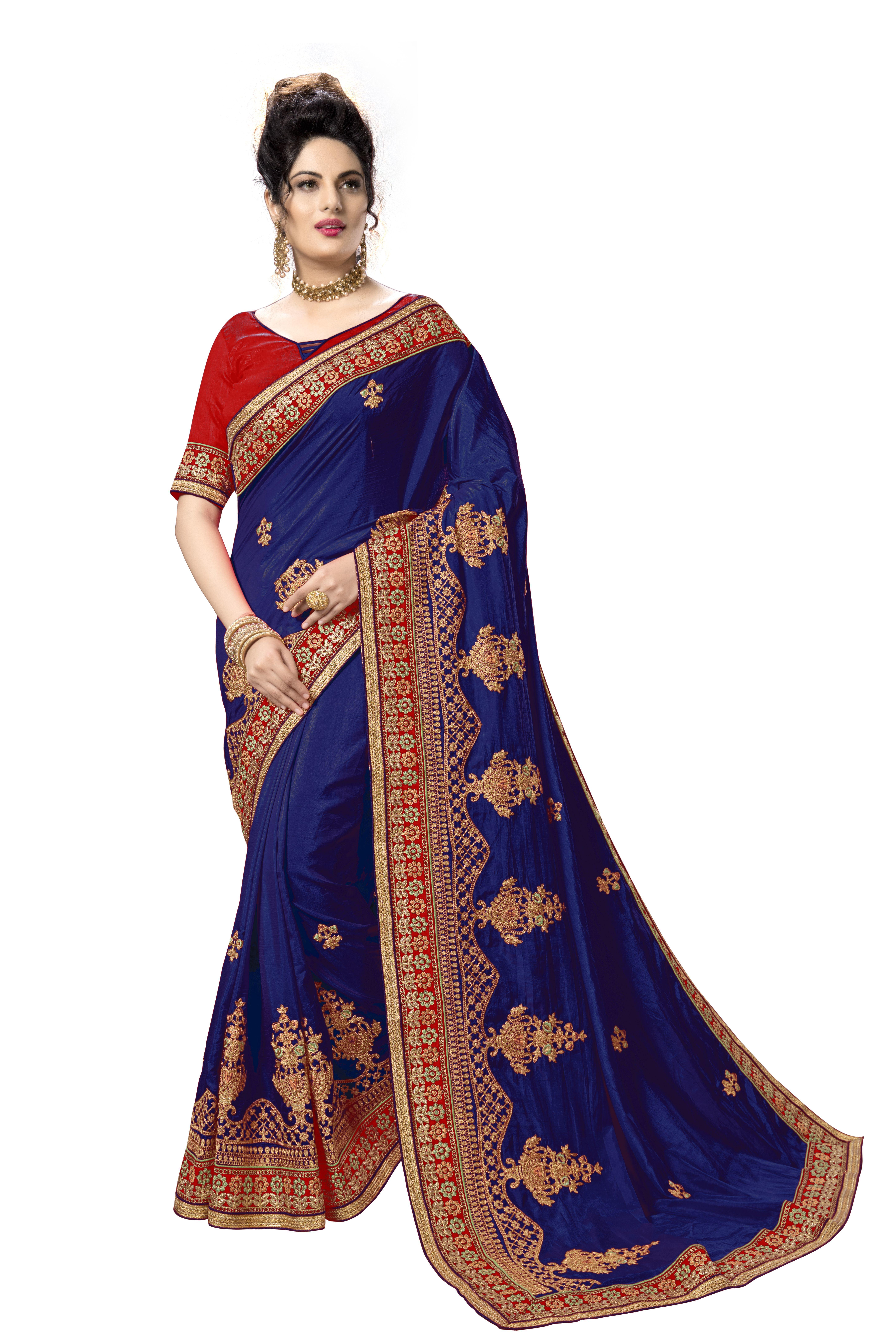 Silk Embroidery Work Saree