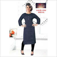 Ladies Navy Blue Rayon Kurtis