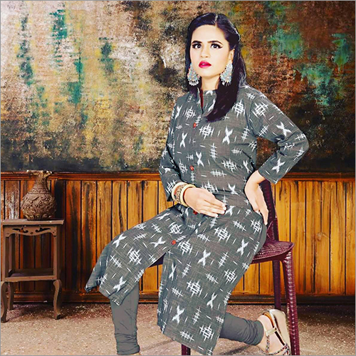 Ladies Cotton Flex Foil Kurtis