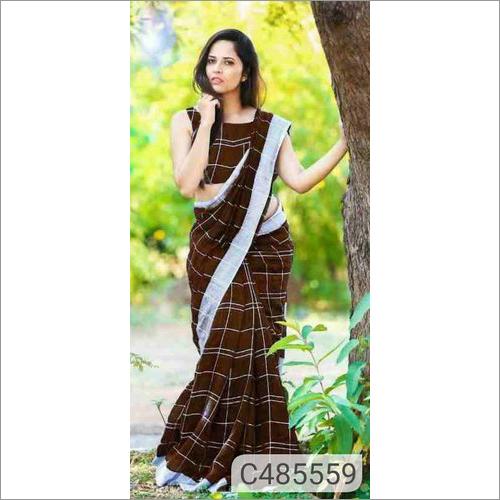 Ladies Check Print Saree