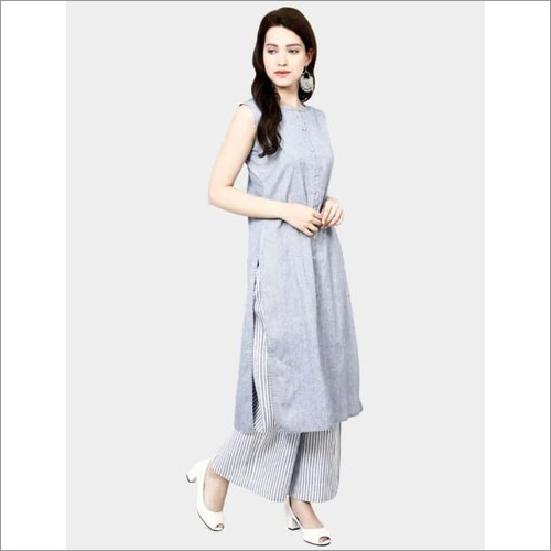 Ladies Sleeveless Cotton Palazzo Suit
