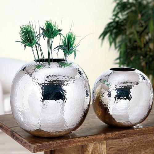 Stainless Steel Round Hammered Flower Vases