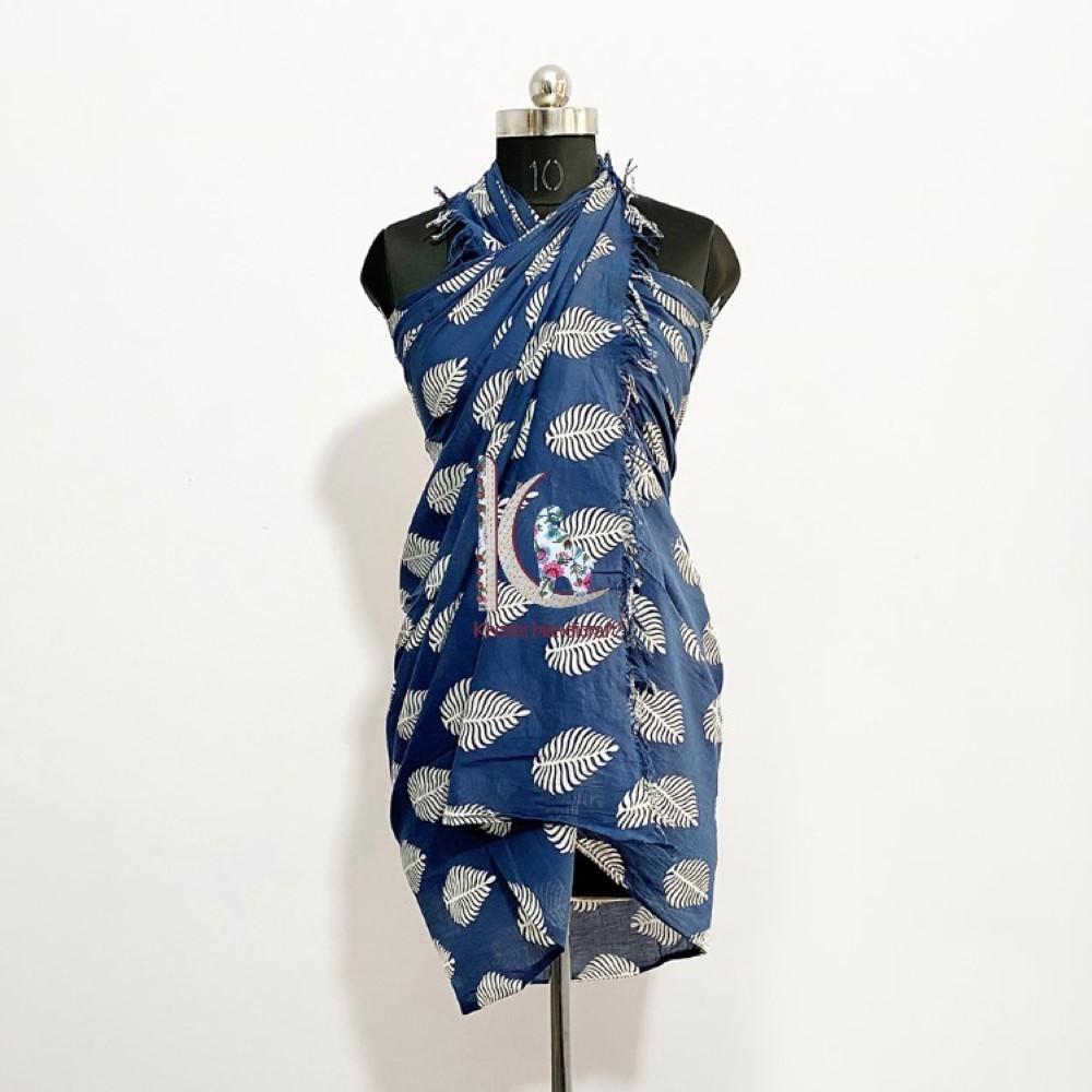 Indigo Hand Block Printed Soft Cotton Sarong