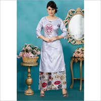 Ladies Printed Kurti With Palazzo Set